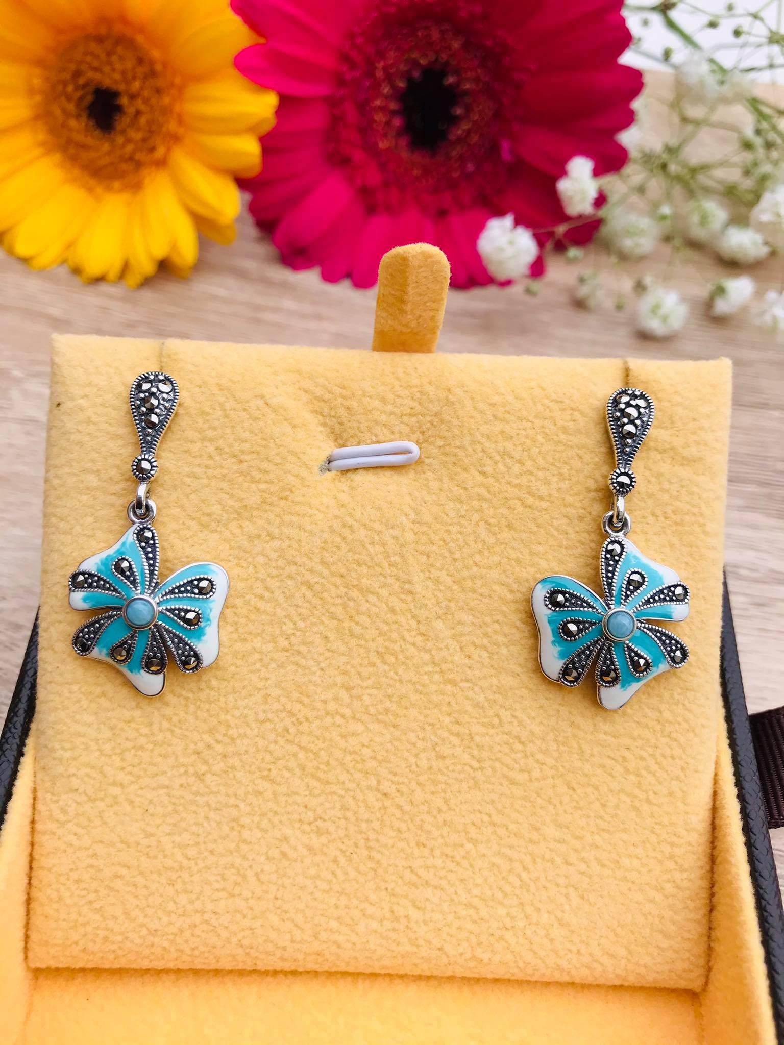 Larimar & Marcasite Enamel Flower  Silver Earrings Image