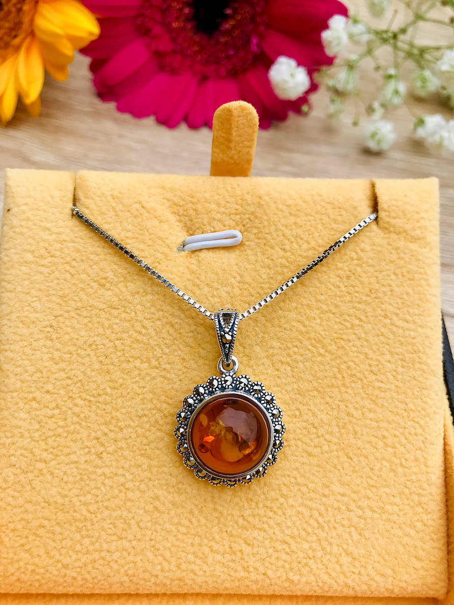 Baltic Amber Marcasite Necklace Image