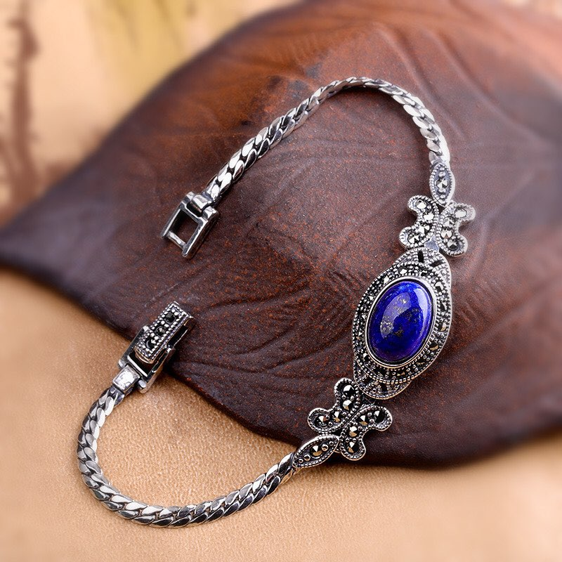 Oval Lapis  and Marcasite set in Sterling Silver Bracelet  Image