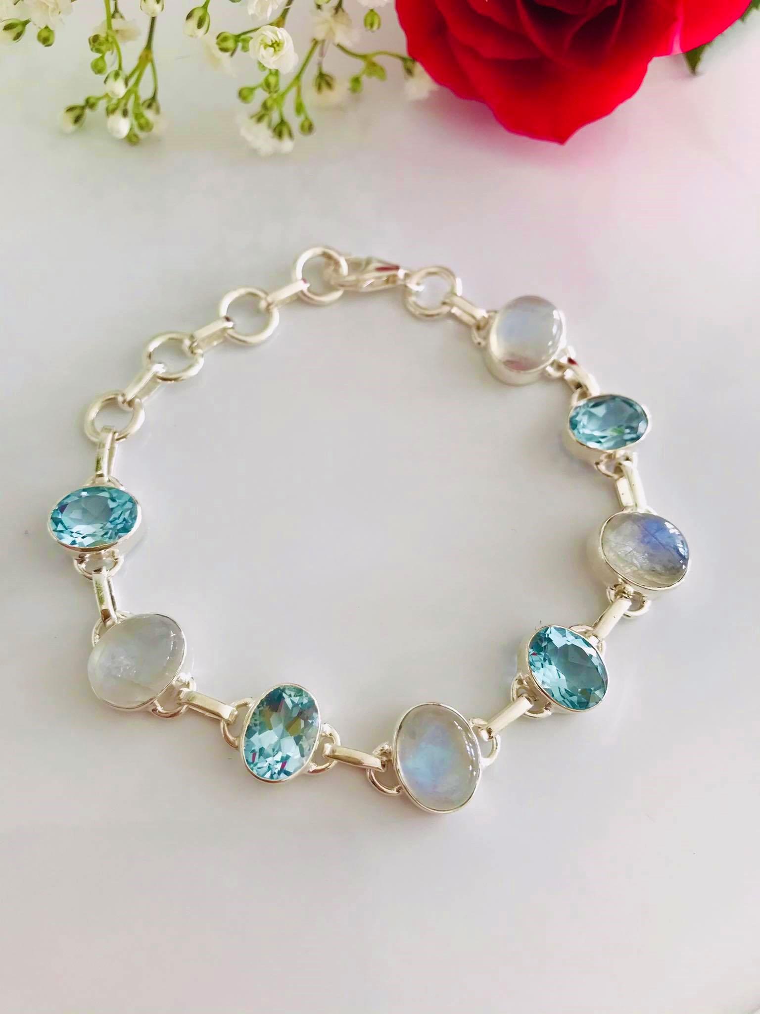 Gorgeous Moonstone & Sky Blue Topaz (Grade: AAA) Sterling Silver Bracelet Image