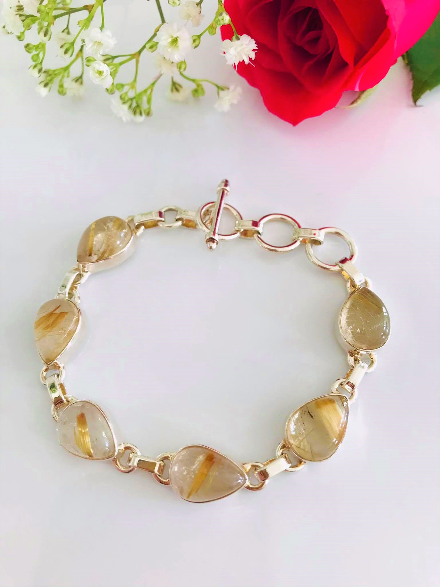 Golden Rutilated Quartz Hand set in Sterling Silver Bracelet Image