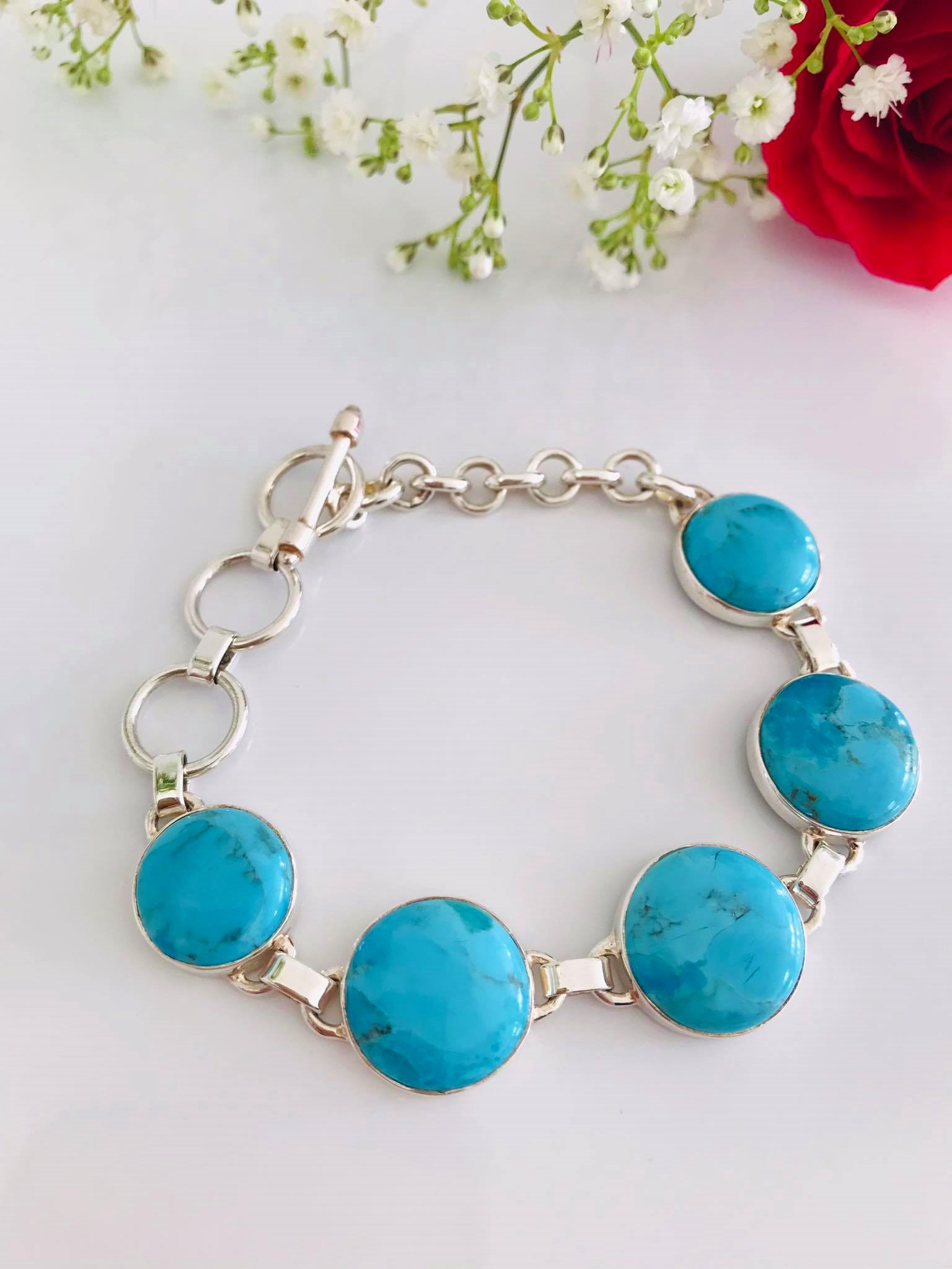 Round /Oval  Blue Mojave Turquoise Sterling Silver Bracelet Image