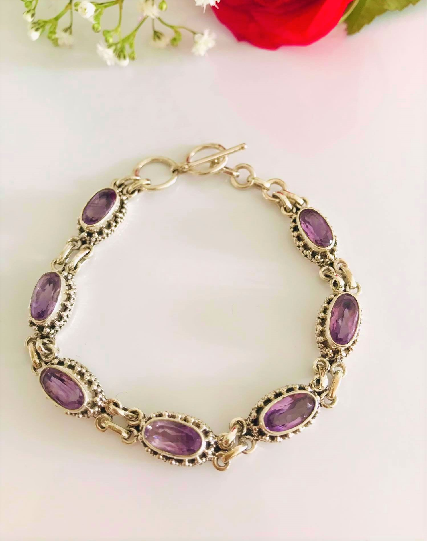 Beautiful Handset Brilliant cut Natural Amethyst Bracelet , Length7-8 inch. WAS €149  ,NOW €119 Image