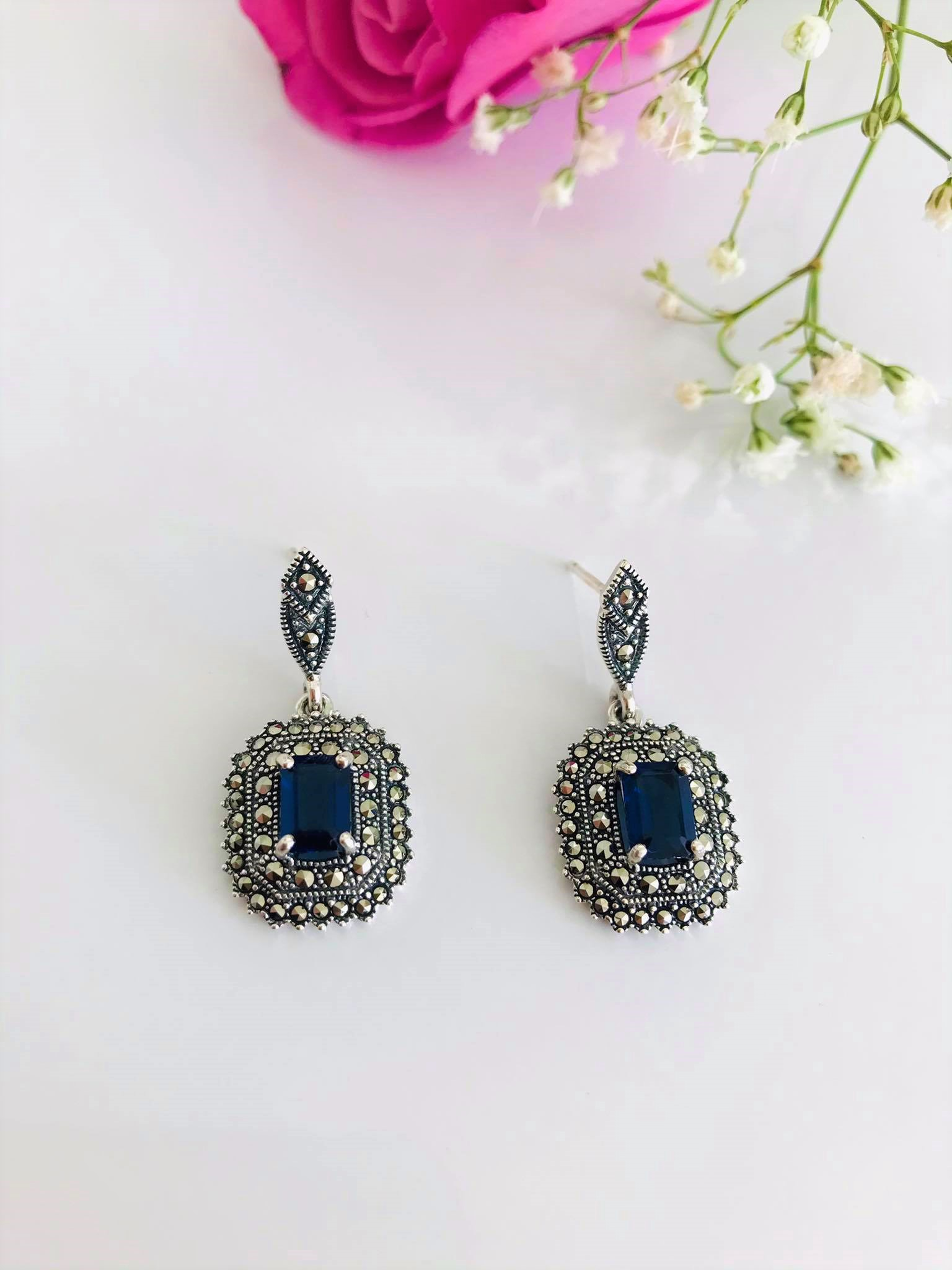 Emerald cut Sapphire with Double Halo Swiss Marcasite Earrings Image