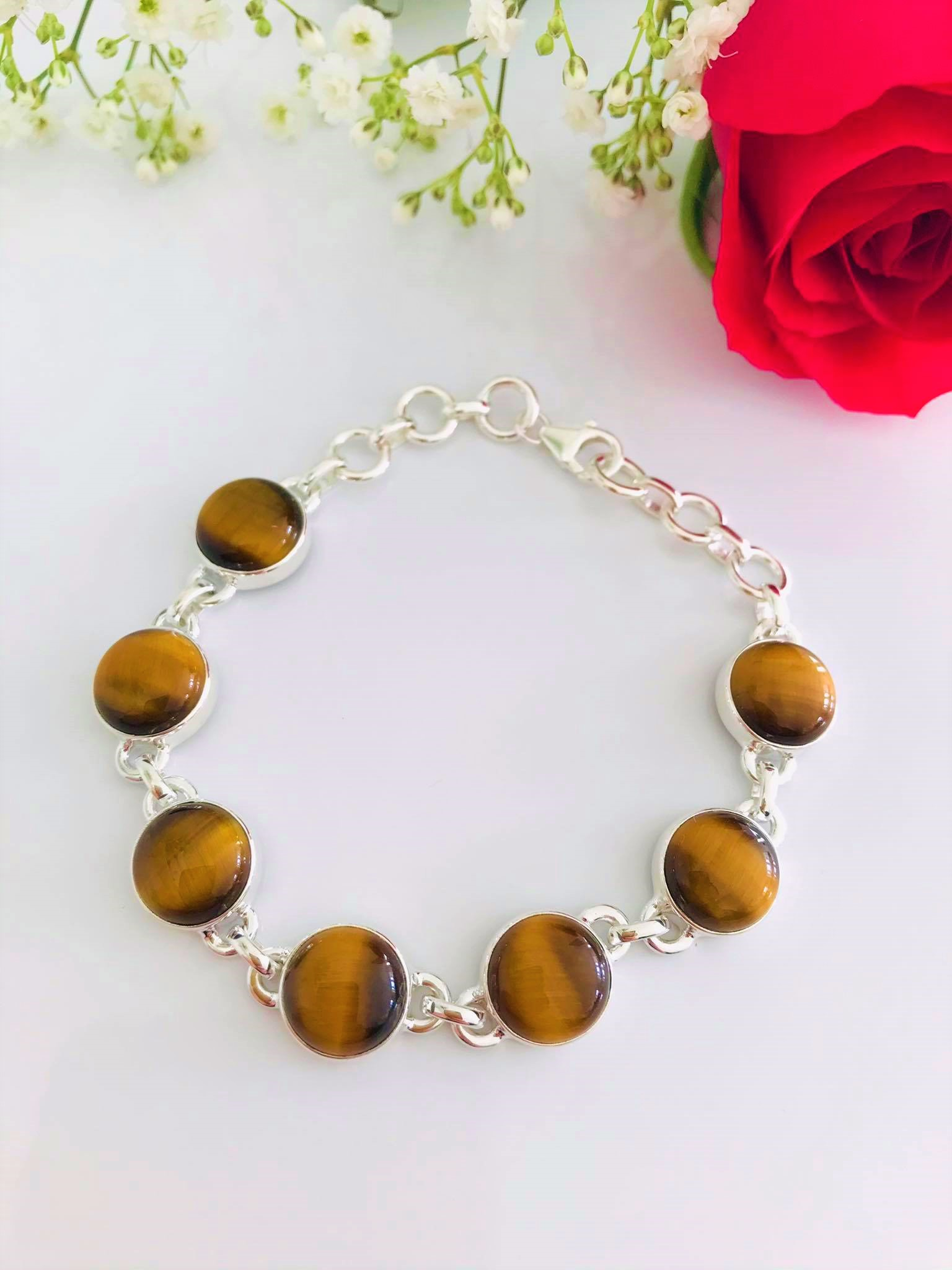 High Polished Round Tiger Eye Sterling Silver Bracelet Image