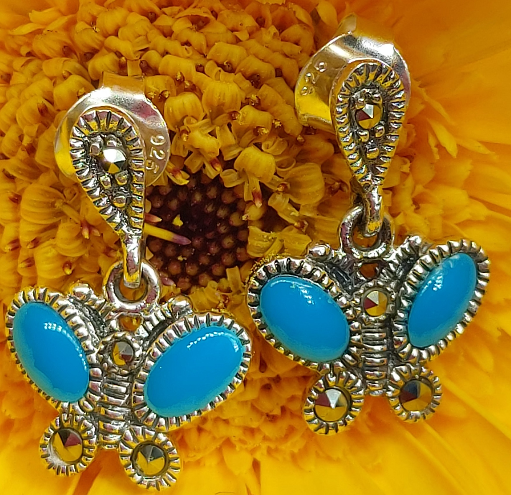 Sterling Silver Butterfly  Turquoise & Marcasite Stud Earrings  Image