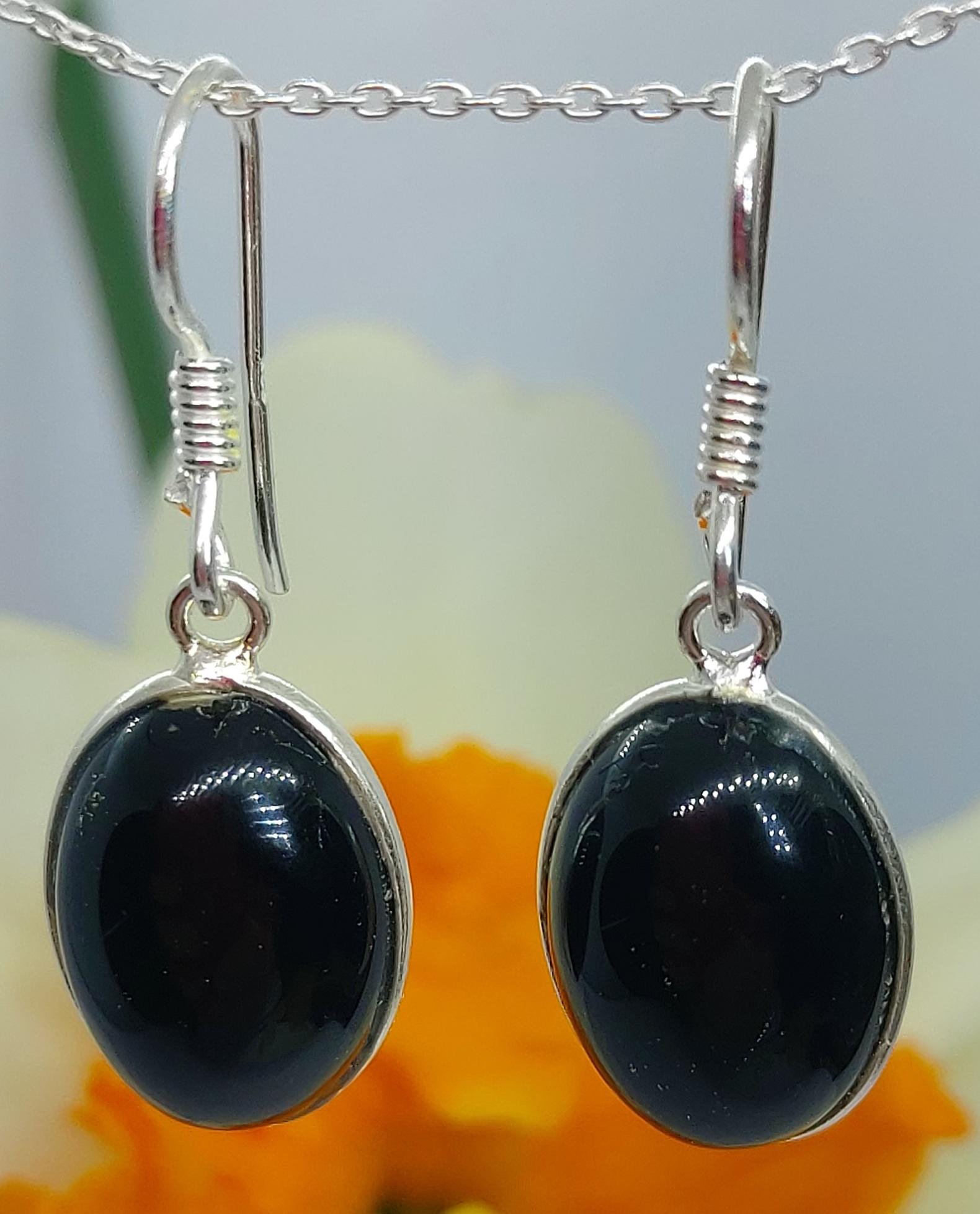 Sterling Silver Black Onyx Earrings  Image