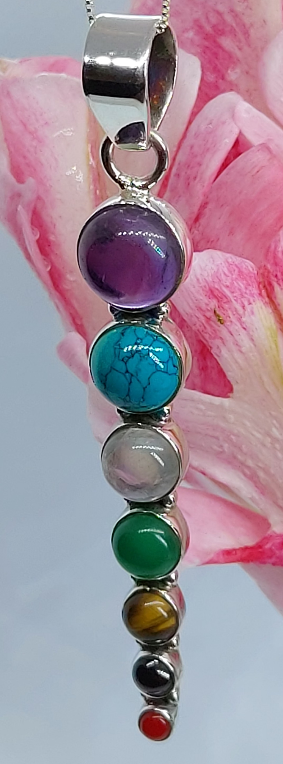 """Sterling Silver Gemstone Pendant 20"""" Chain  Image"""