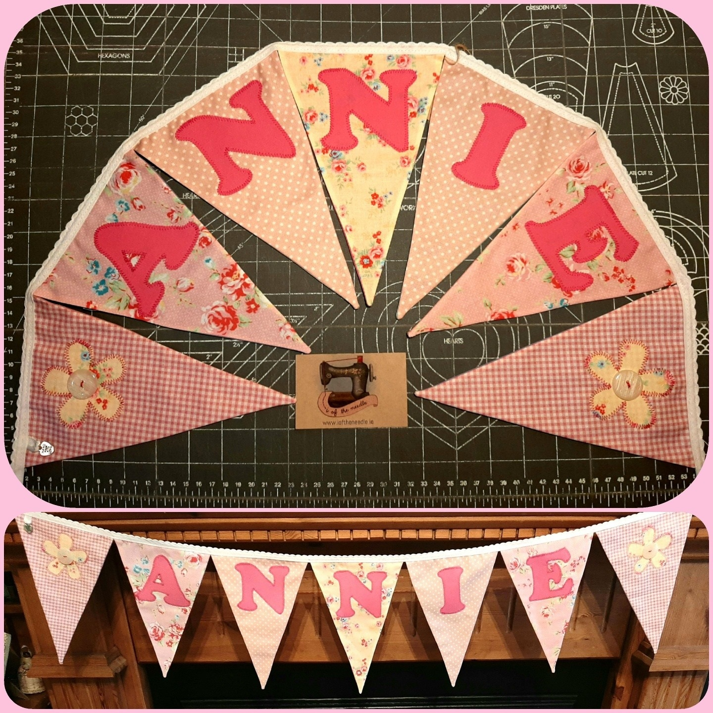Personalised Bunting ANNIE with Flower Motifs Image