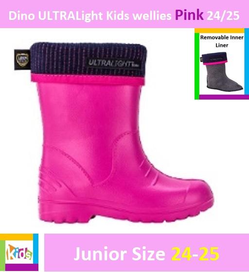 Dino ULTRALight kids wellies Pink 24/25 Image