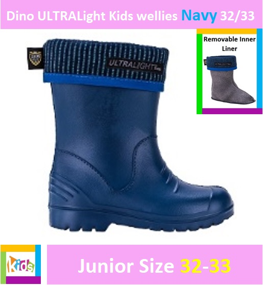 Dino ULTRALight kids wellies Navy 32/33 Image