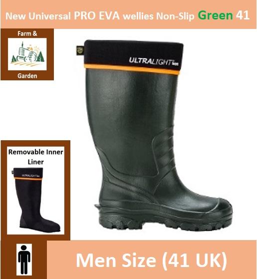 New Universal PRO EVA wellies Non-Slip 41 Green Image