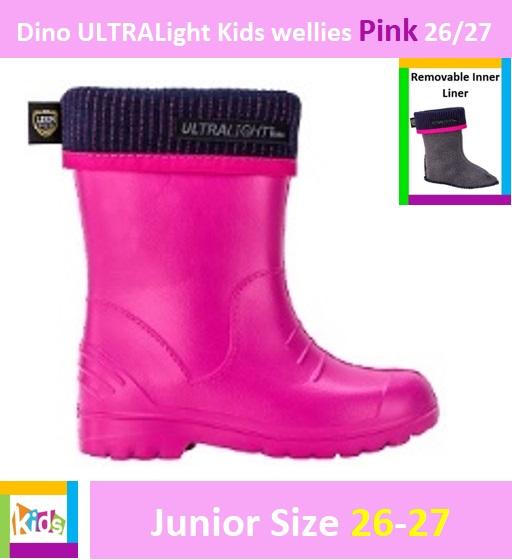 Dino ULTRALight kids wellies Pink 26/27 Image