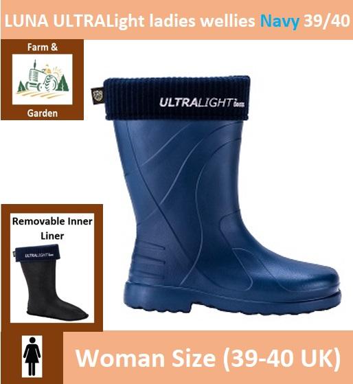 LUNA ULTRALight ladies wellies 39/40 Navy Image