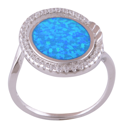 Sterling Silver Opal Ring size 8 Image