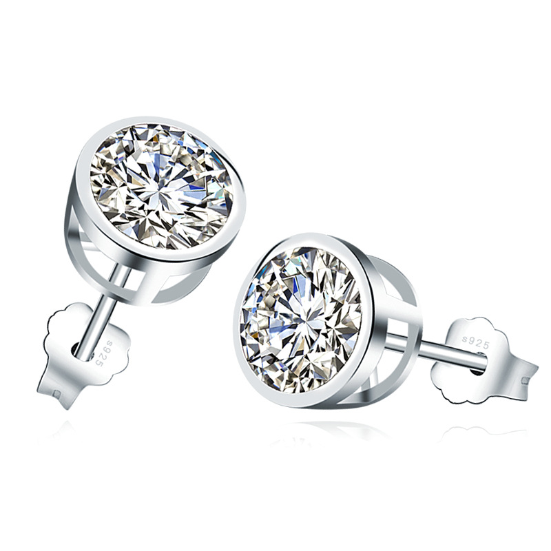 4 mm Round Cubic Zirconia Sterling Silver Studs Image