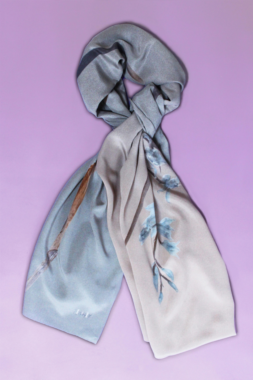 """Wild Orchid"" Silk Scarf Image"
