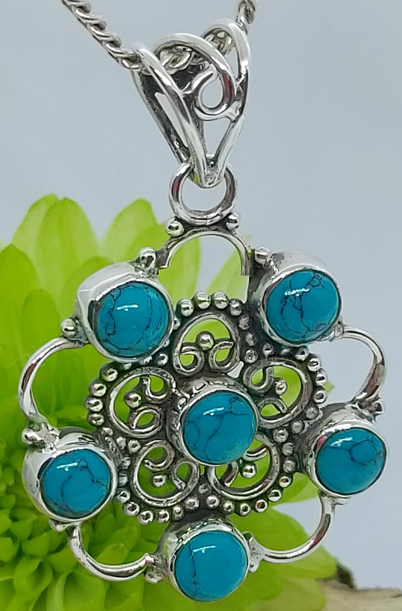 """Sterling Silver Turquoise Ornate  Pendant 20"""" Chain Image"""