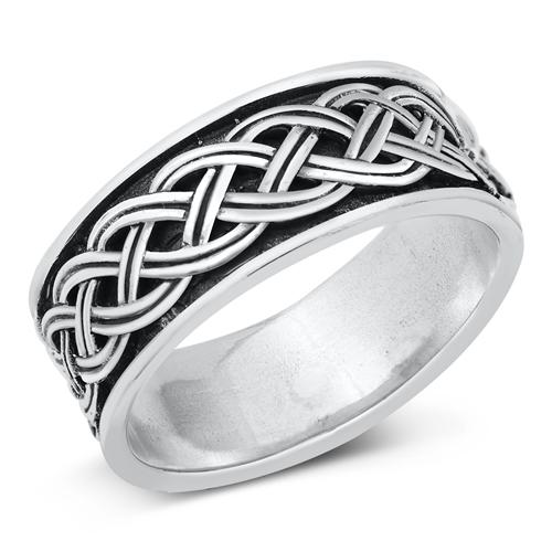 Unisex Sterling silver Bali Plain Band  Image