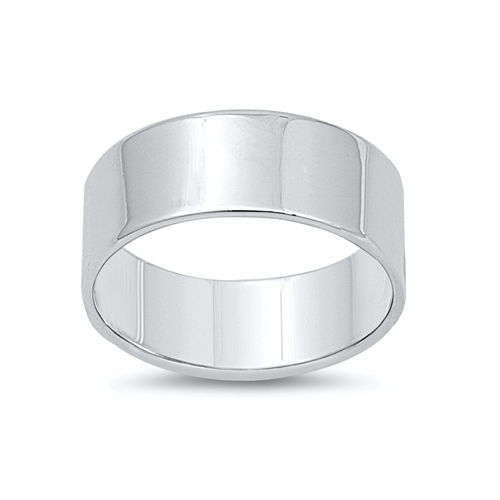 Sterling silver Flat Cigar Band Ring Image