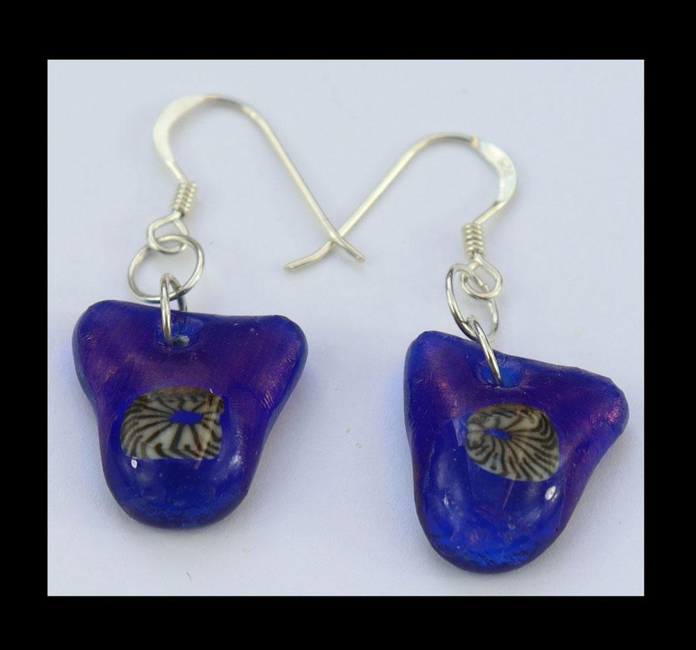 Fused glass sterling silver  drop earrings Image