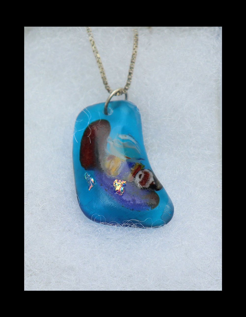 Fused glass sterling silver  Pendant Image