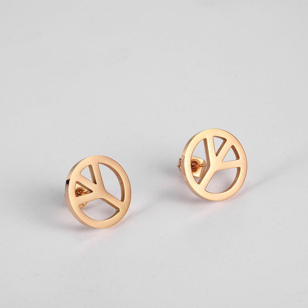 Peace Sign Rose Gold Studs Earring /Nickel Free Earring Image