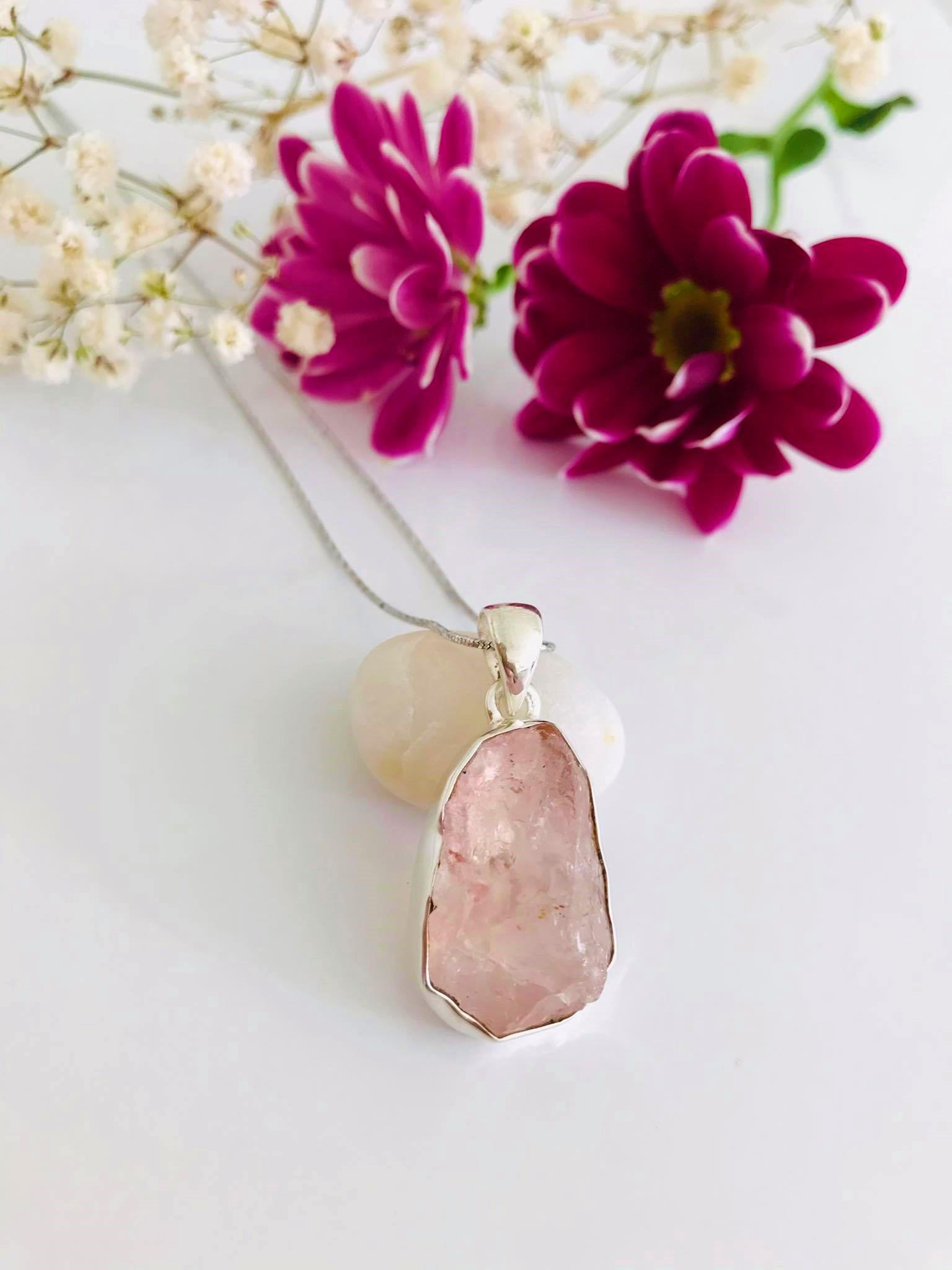 Rose Quartz Rough Silver Necklace Image