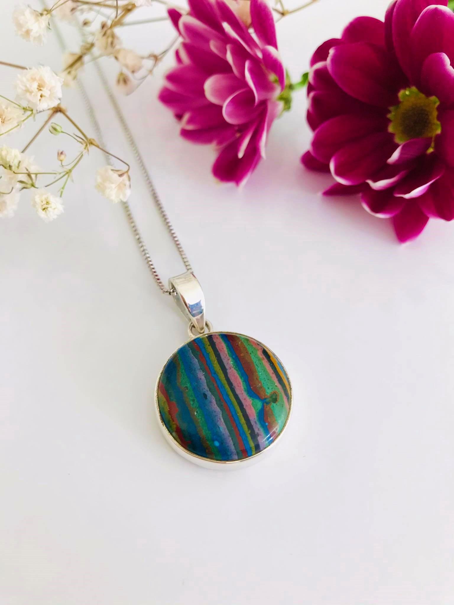 Rainbow Calsilica set in Silver Necklace Image