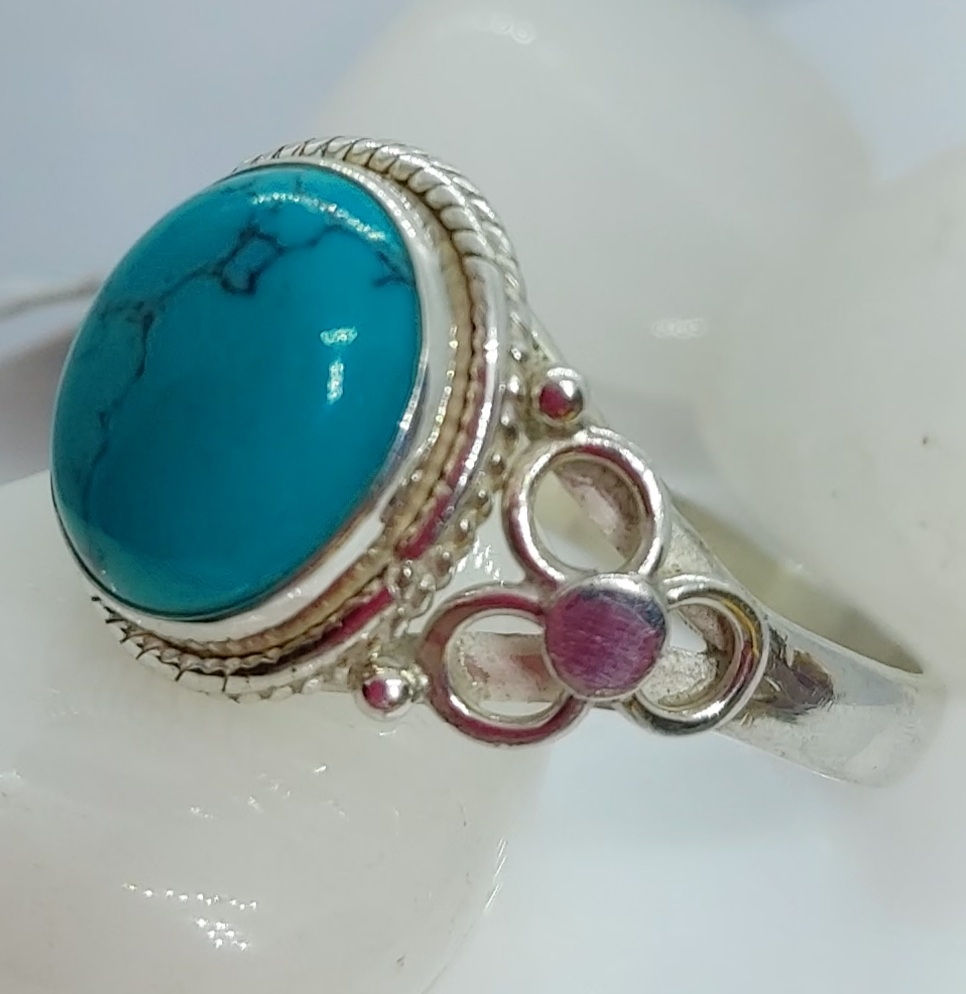 Sterling Silver Turquoise Ring size 12 Image