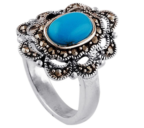Sterling Silver Turquoise & Marcasite Ring size 10.5 Image