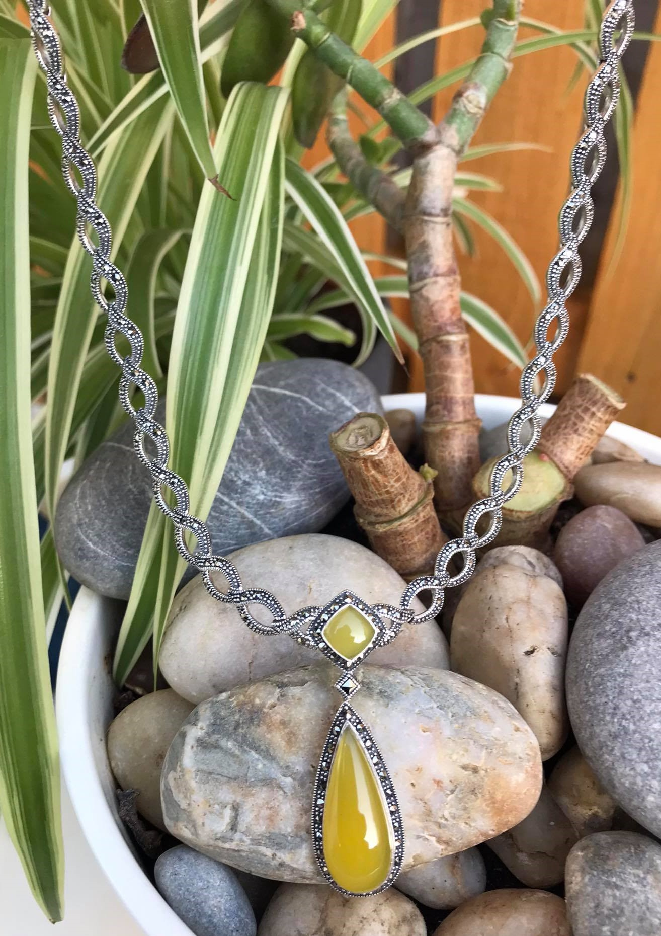 Lovely High Polished Natural Yellow Agate With Sparkling Marcasite Necklace. WAS €225, NOW €169 Image