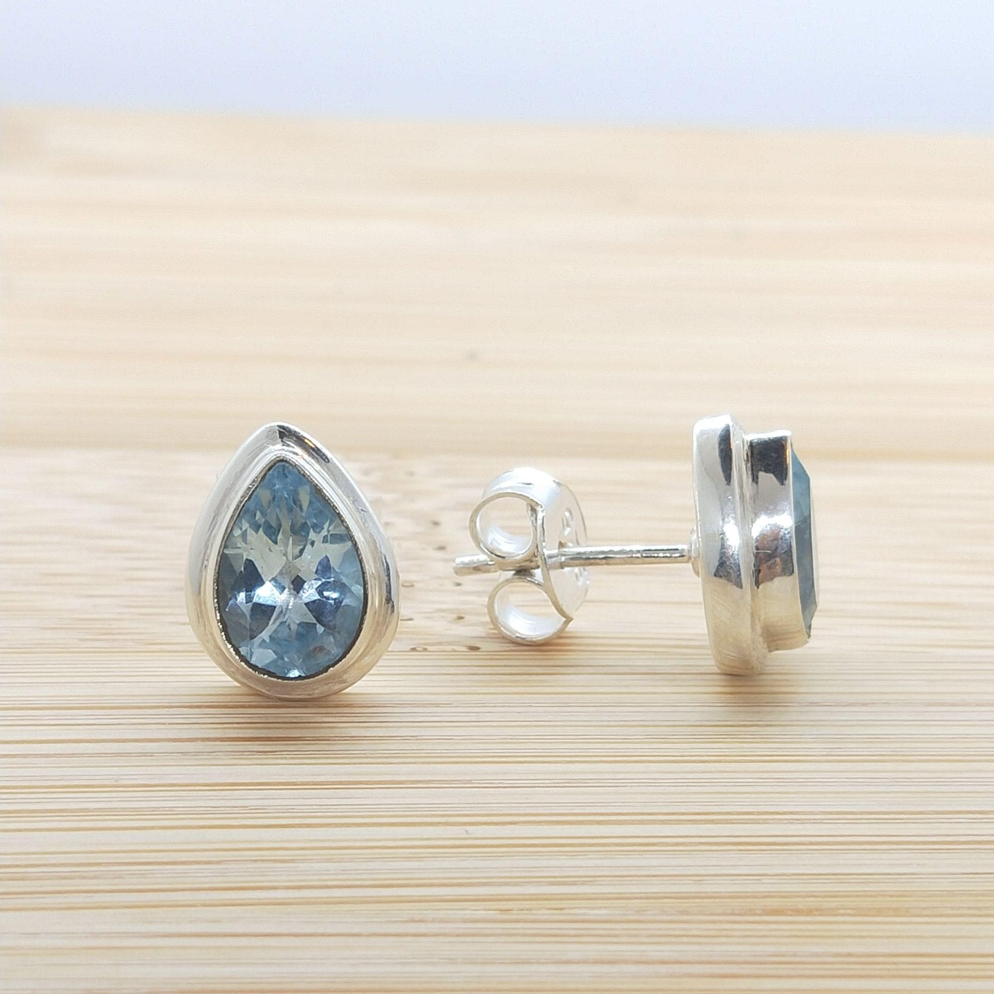 Elegant and Sparkling Blue Topaz Silver Studs  Image