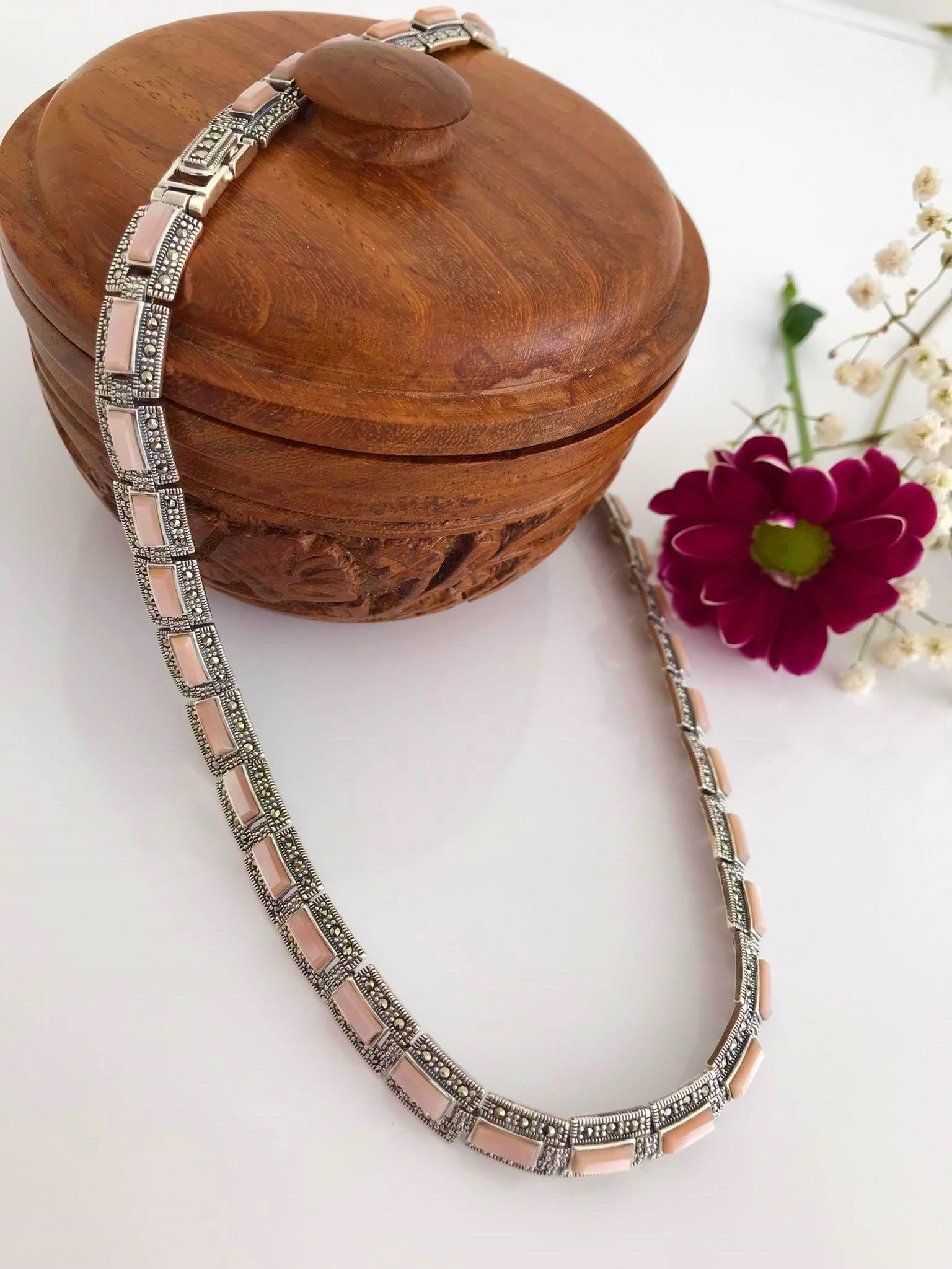 Pink Mother of Pearl with Marcasite Necklace Image