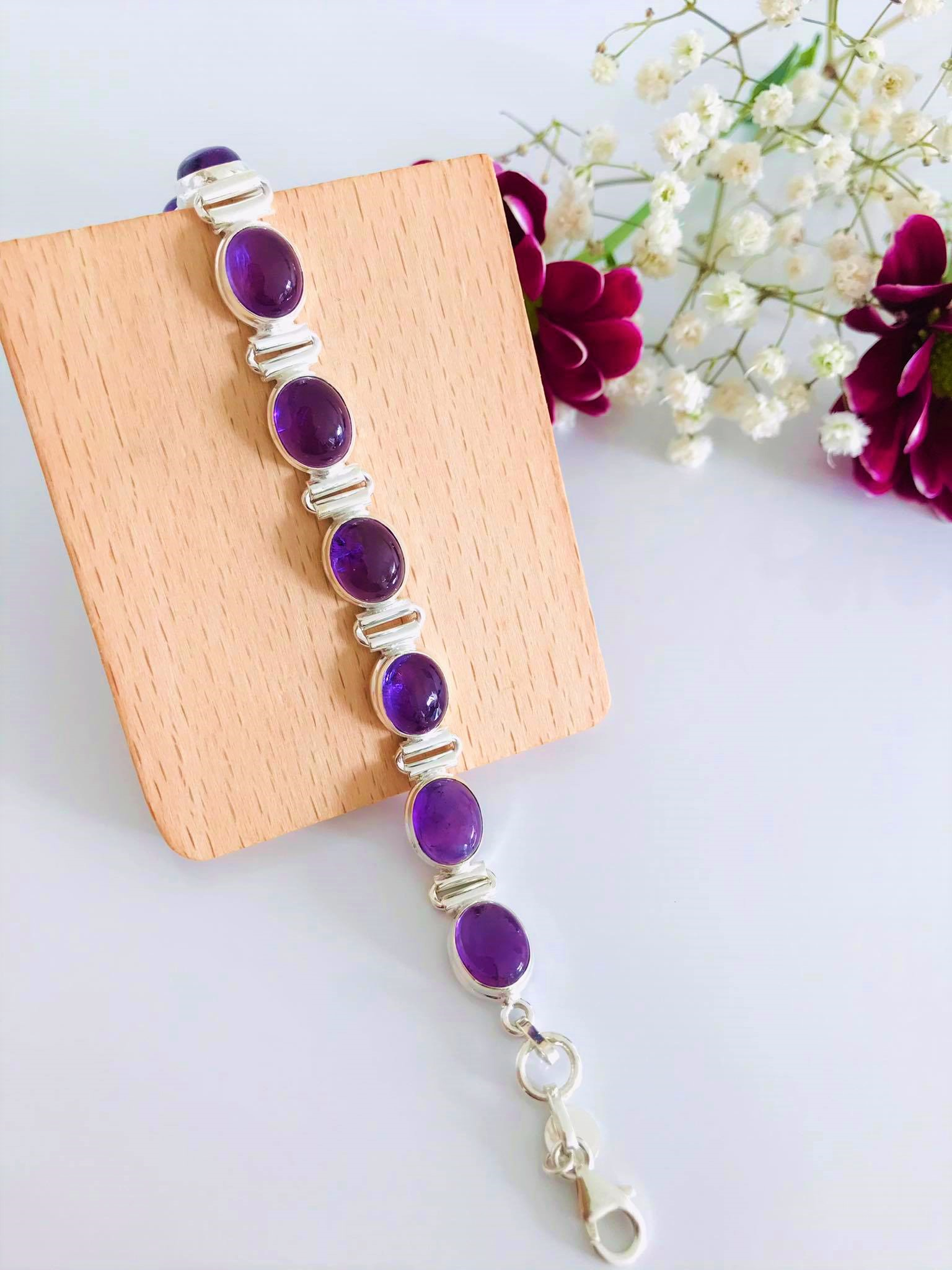 Amethyst set in Silver Bracelet  Image