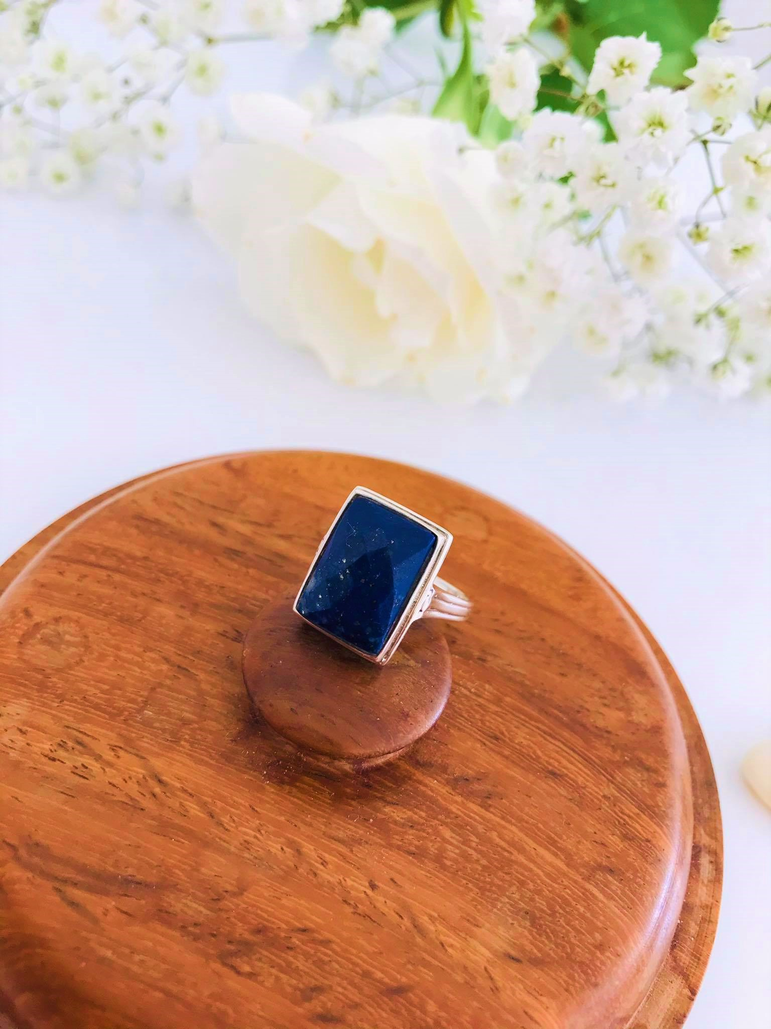 Faceted Lapis set in Silver Ring Image