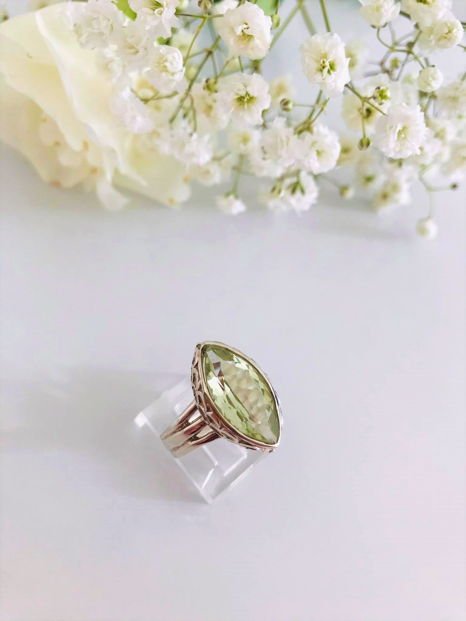 Large Sterling Silver Ring Set with Beautiful Cutting Green Amethyst.  Image