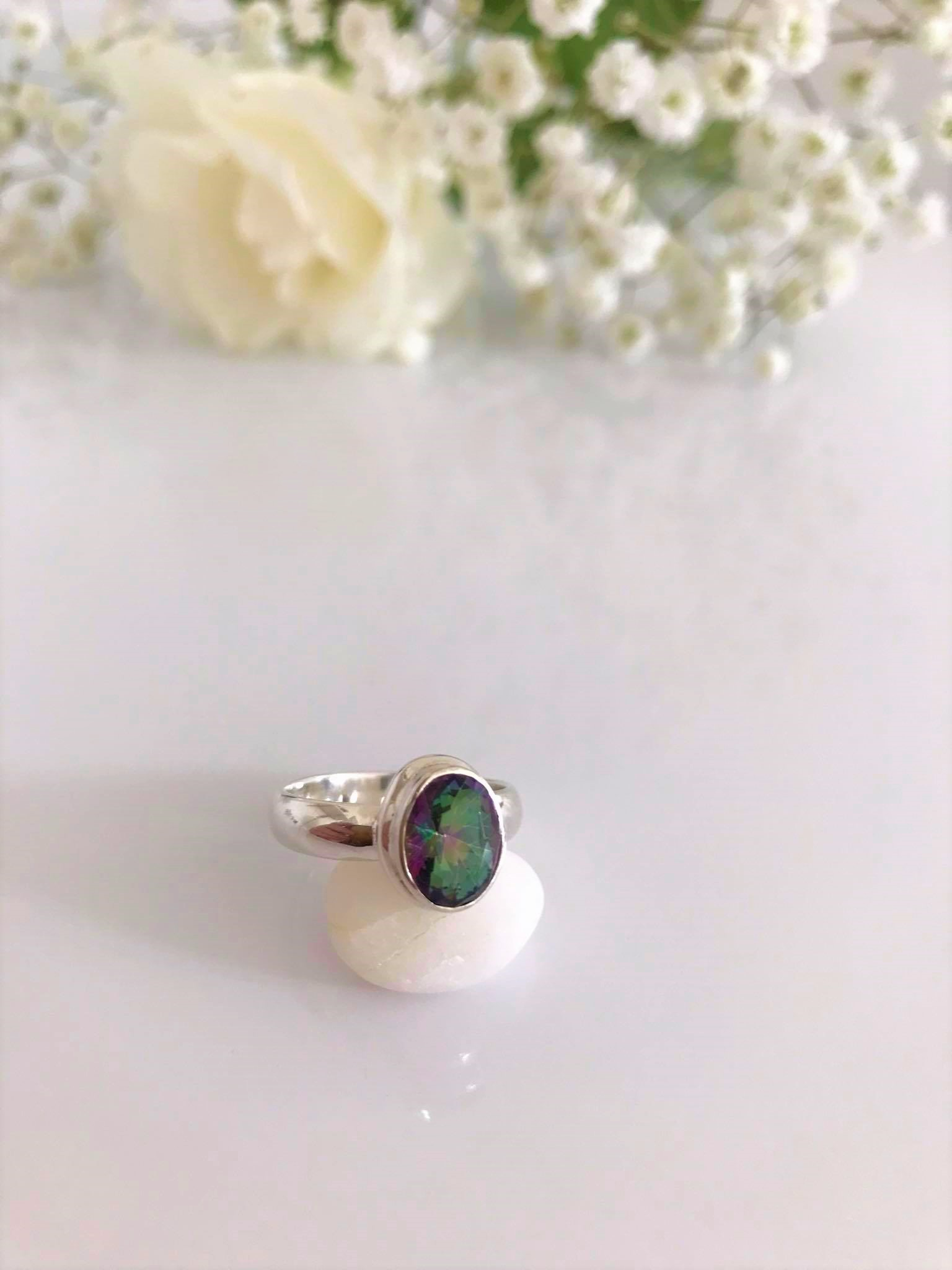 Faceted Mystic Topaz set in Silver Ring  Image