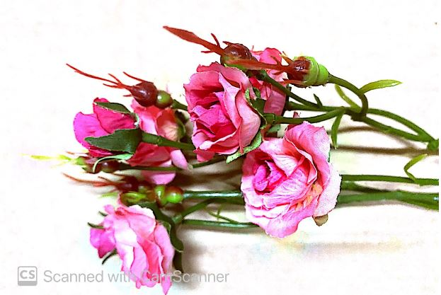 Pink Roses with Buds & Foliage Artificial Image
