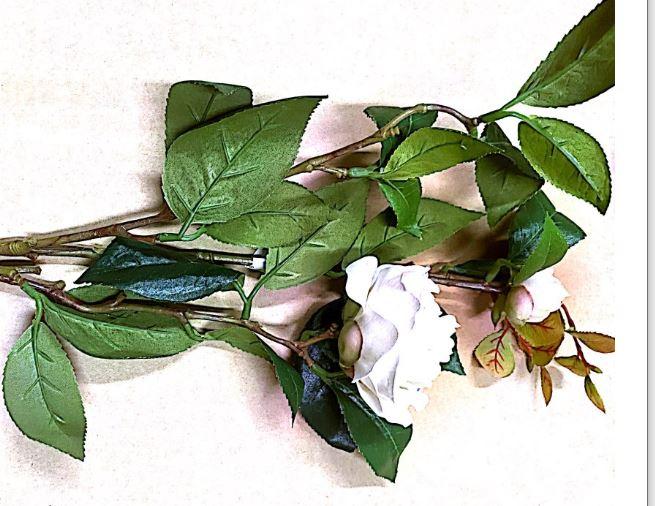 Large White Rose & Sm White Rose on Stem Artificial Image