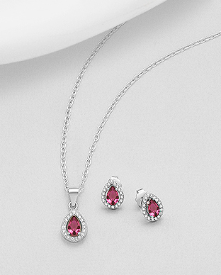 STERLING SILVER PEAR SHAPED RUBY AND CUBIC ZIRCONIA HALO PENDANT & EARRING SET Image