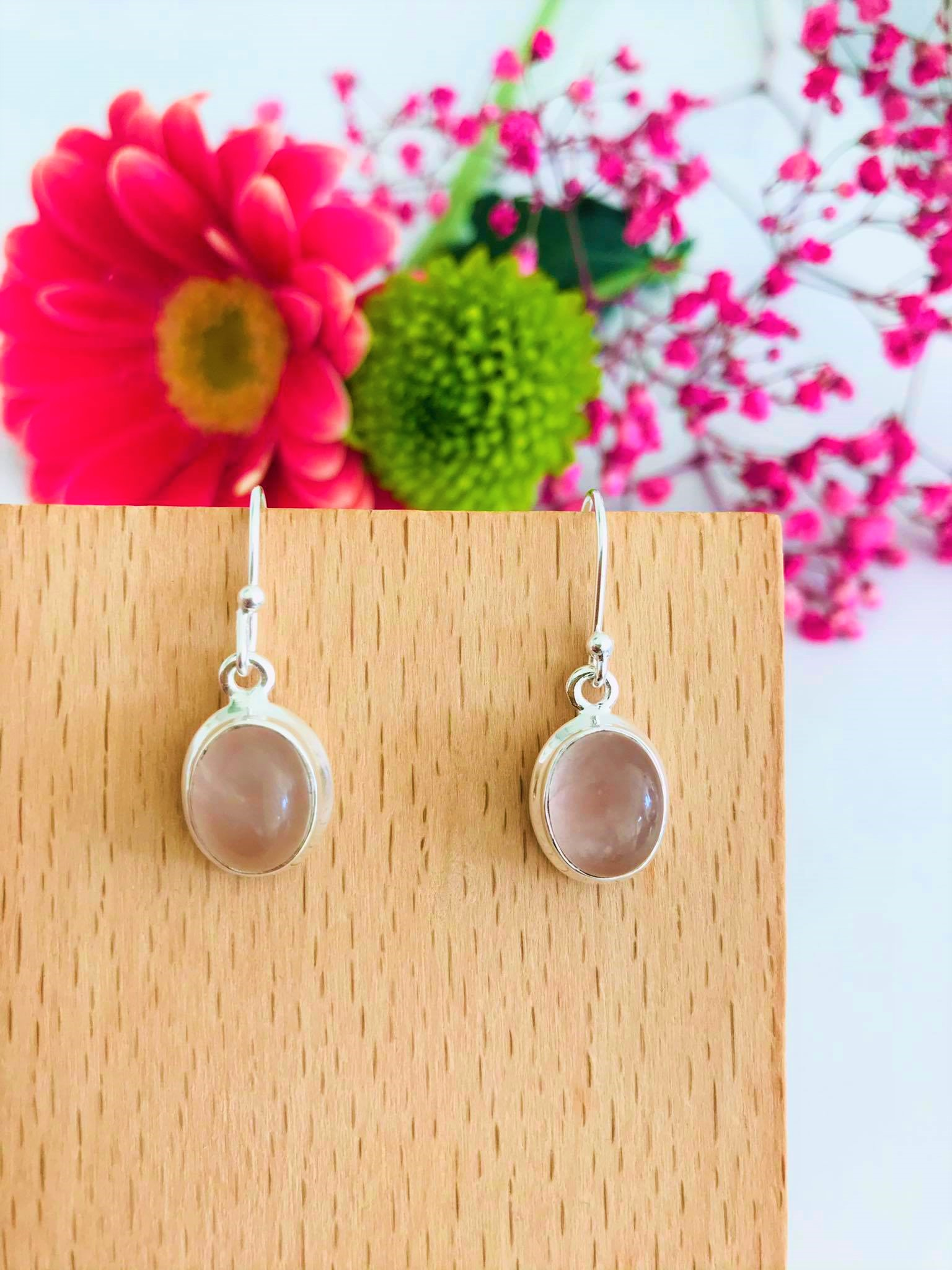 Beautiful High Polished Oval Natural Rose Quartz Sterling Silver Earrings Image