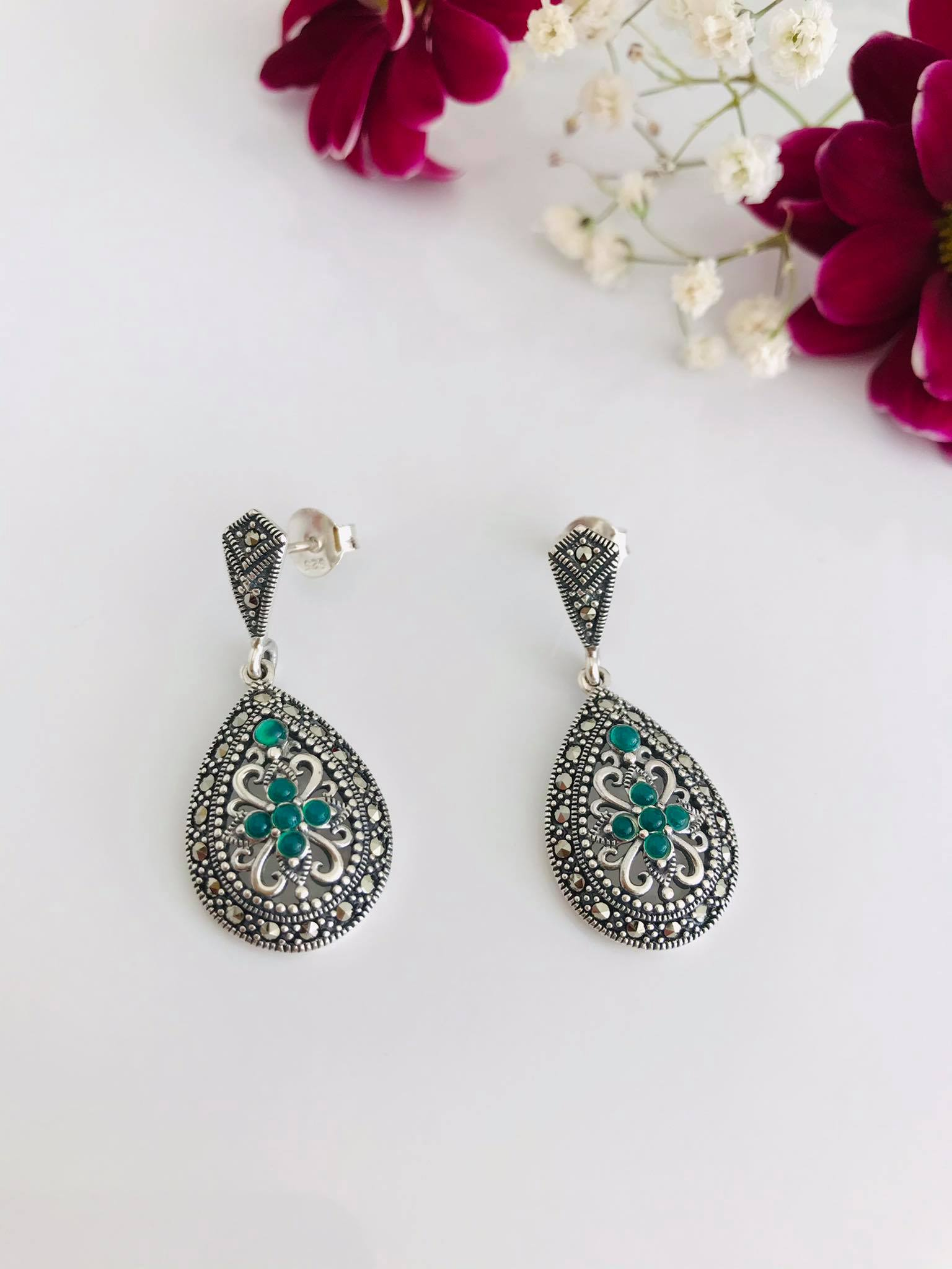 Pear drop Sterling Silver with Green Onyx and Marcasite Earrings Image