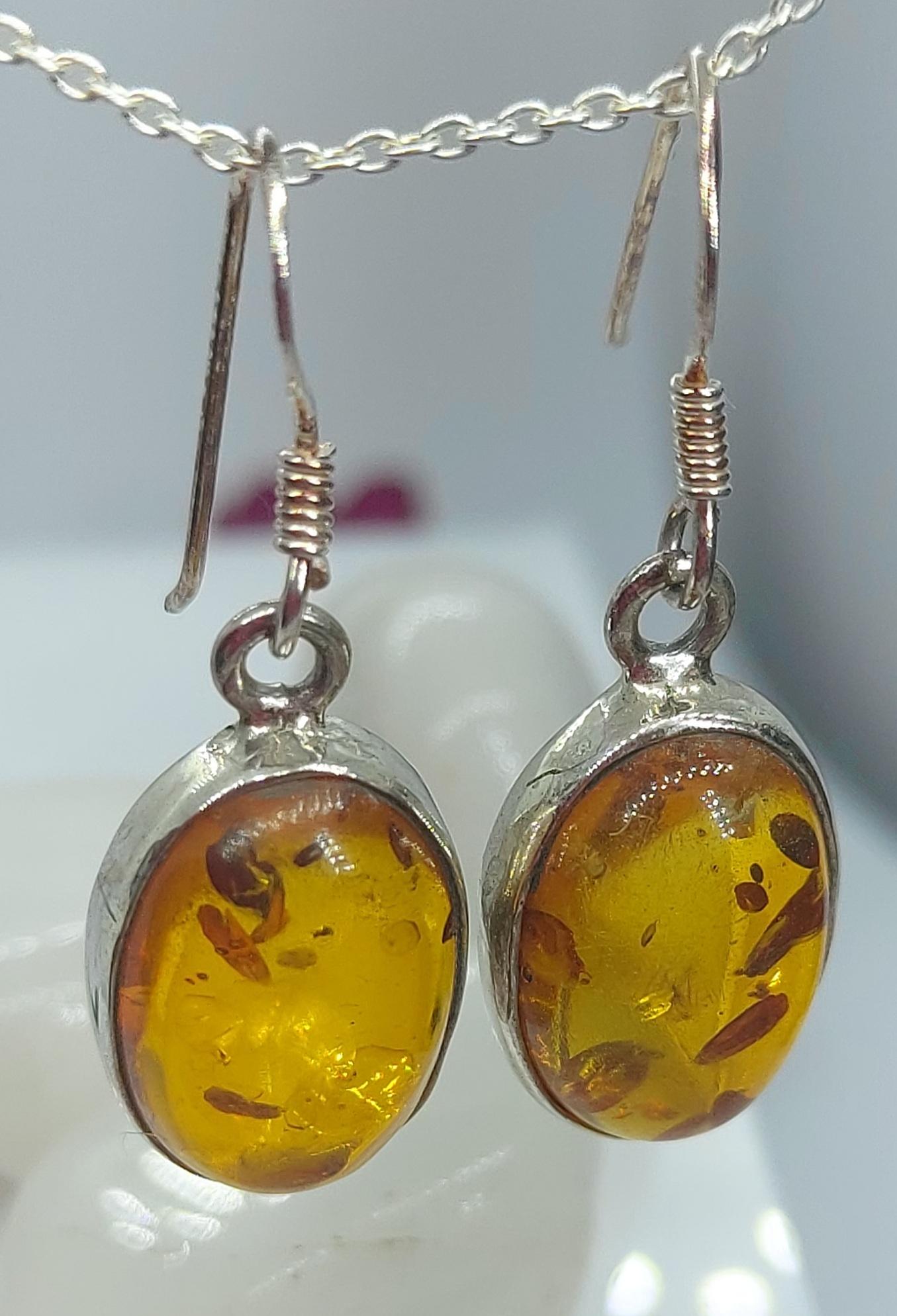 Sterling Silver  Amber Earrings  Image
