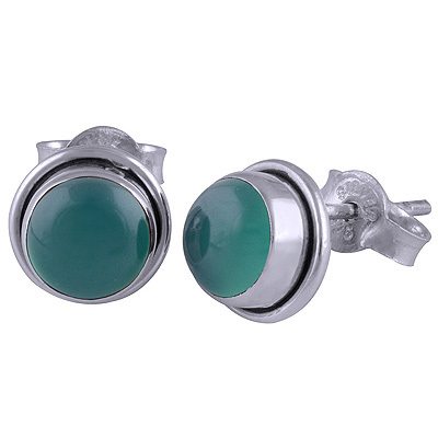 Sterling Silver Green Onyx Stud Earrings  Image