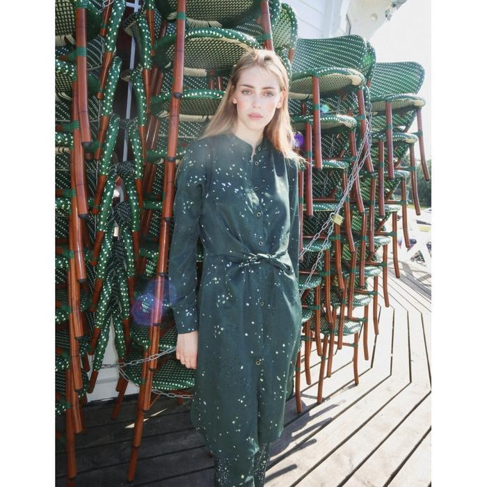 COSTER COPENHAGEN DARK GREEN DRESS WITH TIE KNOT IN RECYCLED POLYESTER Image