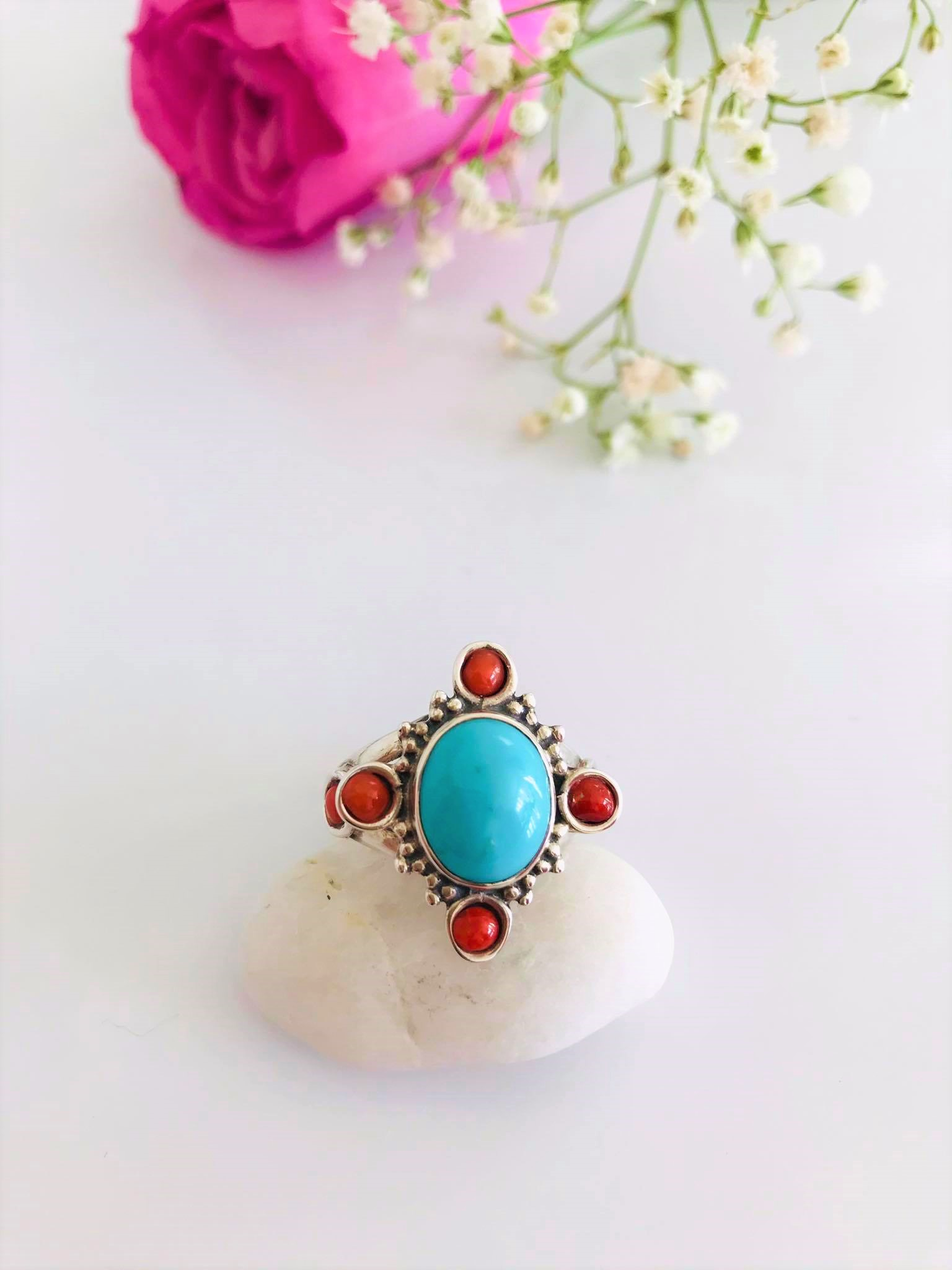 Sterling Silver Ring Decorated with Natural Coral and Turquoise . Size : 7 Image
