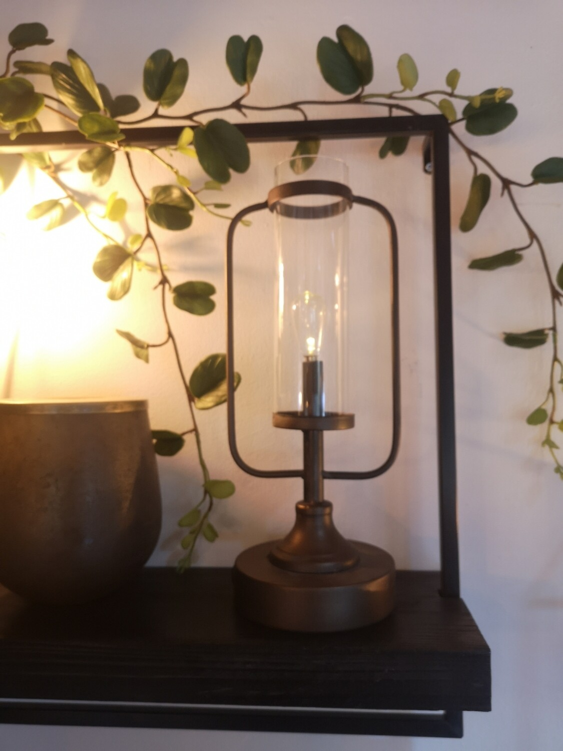 Antique bronze look lantern (battery control) Image