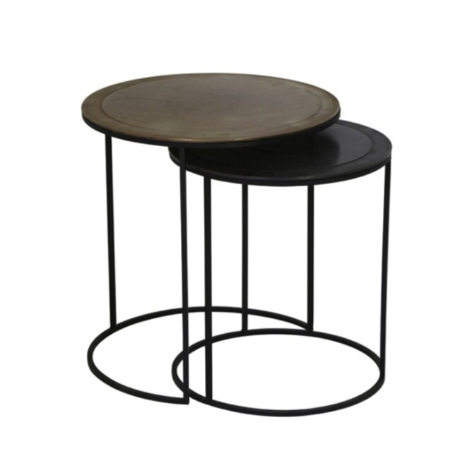 Plain with trim, Antique bronze and antique black circular side tables (set of two) Image