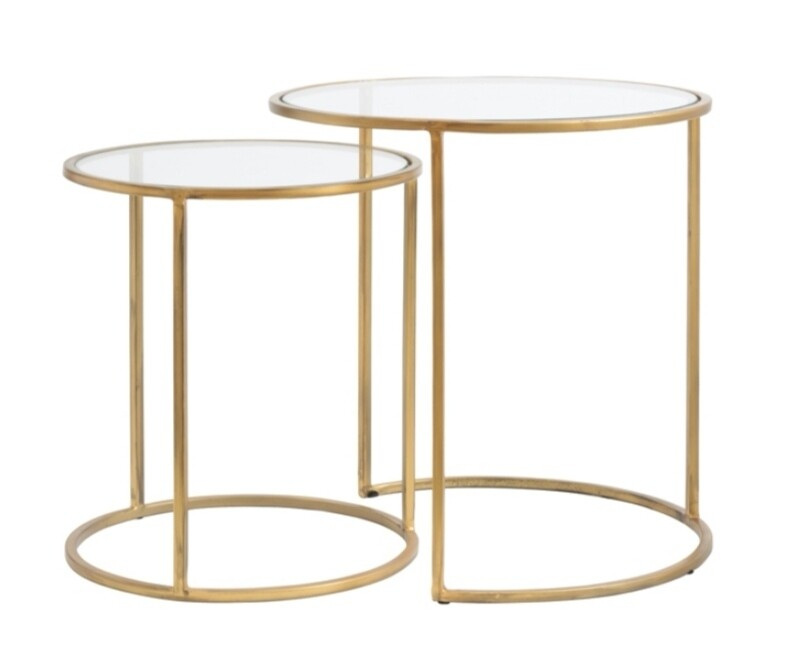 Gold & glass side tables (set of 2) Image